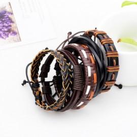 5 Pcs Handmade Leather Braided Bracelet