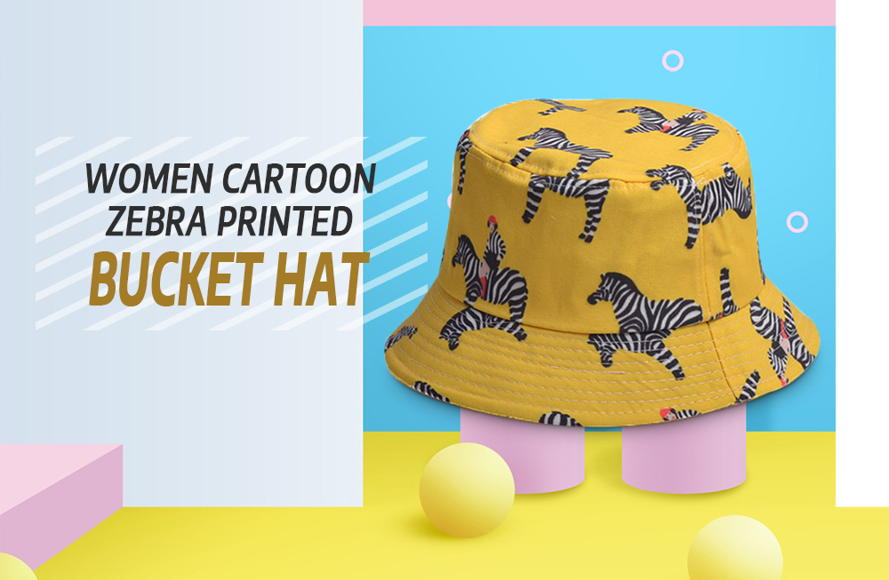 Cartoon Zebra Pattern Bucket Hat